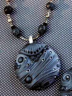 Silver Gray Polymer Clay Pendant Beaded Necklace