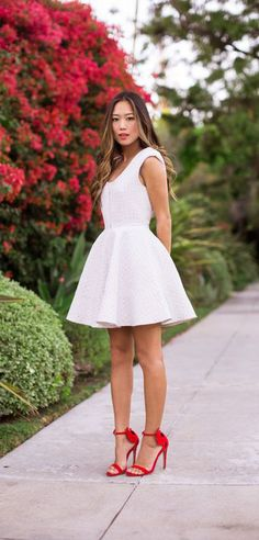 One Dress A Day - Song of Style   White Dress and Red Ankle Strap Sandals
