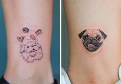 this melbourne tattoo artist excels at pet portraits • art • frankie magazine • australian fashion magazine online Dog Tattoos, Animal Tattoos, Puffy Hair, Melbourne Tattoo, Frankie Magazine, Memorial Tattoos, Leftover Fabric, Pug Life, Pet Portraits