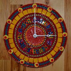 Fiesta Round Mosaic Clock by FlutterflyMosaics on Etsy, $300.00