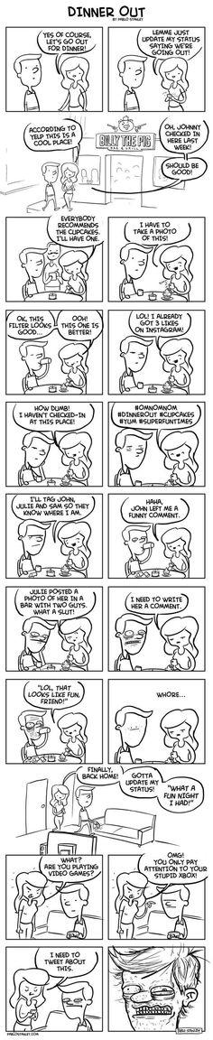 Wyjście na obiad i social media (komiks)