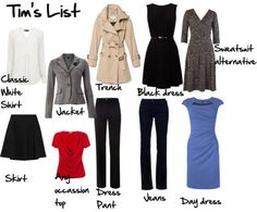 Tim Gunn's List of What Every Woman Should Have in Her Wardrobe.  Here is Tim Gun's List    Basic Black Dress   Trench Coat   Dress Pants   Classic White Shirt  Jeans   Any Occasion Top  Skirt   Day Dress   Jacket   Sweatsuit Alternative