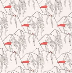Toucan (TO2014/01) - Turner Pocock Cazalet Wallpapers - A quirky design, featuring Toucans with bright coral red beaks, within a geometric like black and white trailing leaf design.   Please request a sample for true colour match.