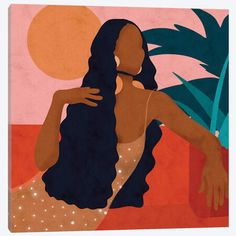 Taraji Canvas Art by Reyna Noriega Black Art Painting, Black Artwork, Afro Painting, Black Love Art, Black Girl Art, Canvas Art Prints, Canvas Wall Art, Female Art, Art Drawings