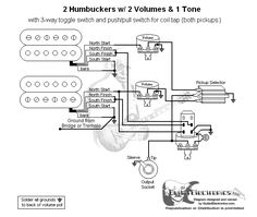 53df837fc285502fbf1ed67e587d1f74 guitar parts volumes guitar wiring diagram 2 humbuckers 3 way lever switch 2 volumes 1 2 Humbucker Wiring Diagrams at gsmx.co
