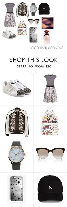 """Adidas superstar"" by michalkajurankova on Polyvore featuring adidas Originals, Escada Sport, River Island, Anya Hindmarch, NLY Accessories, Christian Dior, Rianna Phillips, New Black and Dolce&Gabbana"