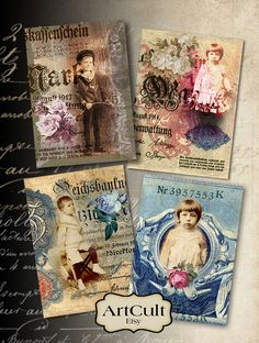 2.5x3.5 inch images LOST IN TIME print-it-yourself Digital Sheet Printable Gift tags vintage ephemera greeting cards decoupage paper ArtCult
