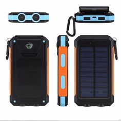 New Portable Solar Power Bank 12000mAh Compass Waterproof External Charging Battery with LED Light Universal Outdoor for iphone //Price: $US $17.50 & FREE Shipping //     #apple