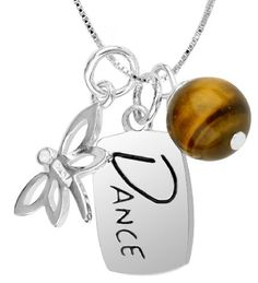 "Sterling Silver ""Dance Like No One Is Looking"" Three Charm Necklace, 18""   http://womensjewelrynews.blogspot.com/2013/11/womens-jewelry-news-discover-jewelry.html #Necklaces #Pendants #jewelry #accessories #Two_Piece_Pendant_Necklace"