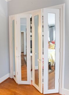 Closet doors are vital, but often ignored when it involves room decoration. Create a new look for your room with these closet door ideas. It is essential to produce one-of-a-kind closet door ideas to improve your home decor. Bedroom Closet Doors, Mirror Closet Doors, Wardrobe Doors, Door Mirrors, Bi Fold Closet Doors, Master Closet, Room Doors, Mirrored Bifold Closet Doors, Bathroom Closet