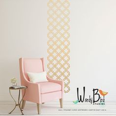 "in ""copper shimmer""    Woven Trellis Pattern - Vinyl Wall Decal  - wall stickers set"