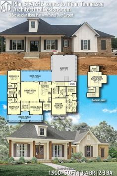 Home Remodeling Plans Architectural Designs Home Plan client-built on a basement in Tennessee ! This house plan gives you 3 bedrooms, baths and sq. ft PLUS a bonus room with bath over the garage. Brick House Plans, Basement House Plans, Bedroom House Plans, New House Plans, Dream House Plans, Small House Plans, House Floor Plans, Floor Plan With Basement, House Design Plans