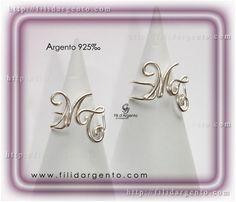 """Anello con iniziale """"M-T"""" Wire in Argento 925‰ / Ring Initial """"M-T"""" Wire Silver 925‰"""