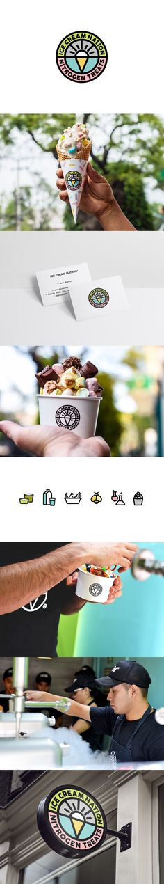 Art direction, Graphic Design and Packaging for Ice Cream Nation, a friendly and popular nitrogen treat shop chain in Mexico City.   https://www.behance.net/panelstudiodesign branding, bussiness cards, graphic design, ice cream cone, toppings, color, sprinkles