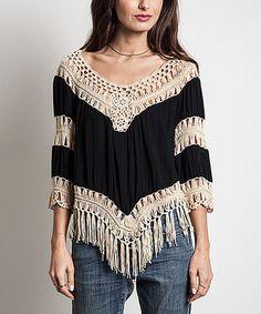 Look what I found on #zulily! Black Crochet Fringe Scoop Neck Tunic #zulilyfinds