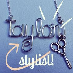 Stylist, hairstylist, cosmetology name necklace by QueenCityConceptions on Etsy https://www.etsy.com/listing/158786179/stylist-hairstylist-cosmetology-name