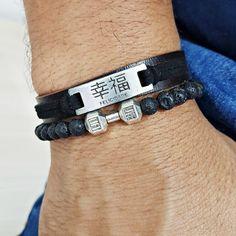 Kit 2 Pulseiras Masculinas Couro Pedras Felicidade Halteres mens bracelets fashion style cocar brasil