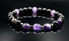 Amethyst Bracelet for Men Beaded Bracelet Black Agate bracelet Amethyst Bracelet, Gemstone Bracelets, Handmade Bracelets, Stone Jewelry, Crystal Jewelry, Crystal Necklace, Cool Mens Bracelets, Black Agate, Agate Beads