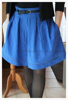 jupe chardon bleue +passepoil