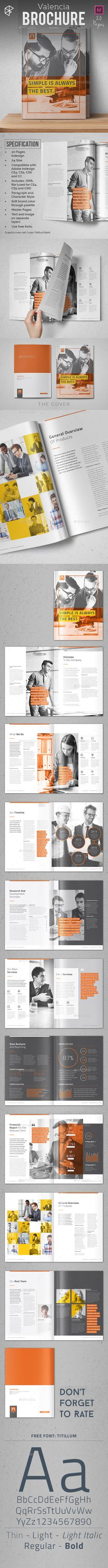 Valencia Brochure Template InDesign INDD. Download here: http://graphicriver.net/item/valencia-brochure/16288654?ref=ksioks