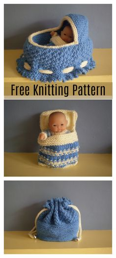 knitting patterns toys This Doll Cradle Purse Free Knitting Pattern is a simple toy which make great presents for kids. Make one now with the free pattern provided by the link be Purse Patterns Free, Kids Knitting Patterns, Knitting Designs, Free Pattern, Baby Doll Clothes, Doll Clothes Patterns, Doll Patterns, Knitted Dolls, Crochet Dolls