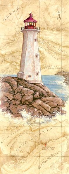 Peggys Cove Light, a painting of a lighthouse painted against a hand painted map, showing the region and the spot where the lighthouse is lo...