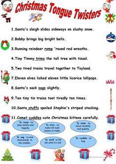 Christmas tongue twisters.