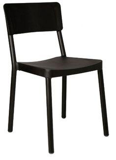 Resol Lisboa stoel zwart is ook stapelbaar. Verkrijgbaar in onze shop!