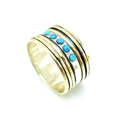 Wide opal spinner ring with silver and gold swivel bands