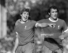 Football Manchester England League Division One 14th September 1974 Manchester City v Liverpool Liverpool's Emlyn Hughes with his teammate Ray Kennedy during the match at Maine Road