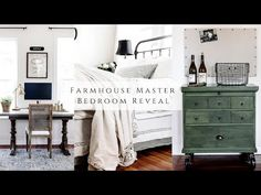Farmhouse Master Bedroom Reveal - YouTube Farmhouse Master Bedroom, Dresser As Nightstand, Homemaking, Home Remodeling, The Originals, Table, Furniture, Design, Home Decor