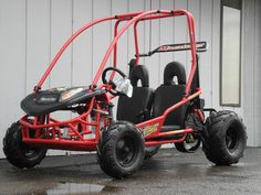 Now in stock! The American Sportworks 5210 Marauder off-road go kart is a fast and fun go kart for kids ages 13 and older. With a powerful 208cc 4-stroke engine, dual wheel drive, and automatic CVT transmission, it can travel up to 24mph. And thanks to a hydraulic disc brake, it can stop on a dime. The full suspension makes it easy to control. And for added safety, it is equipped with 1.125-inch brush bars and 3-point shoulder/lap belts.