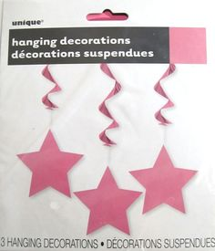 Pink Star Foil Hanging Party Decorations - 3 Pack