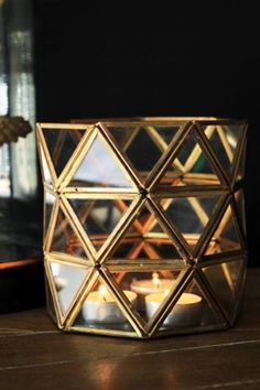 Brass Glass Geometric Candle Holder | Rockett St George.