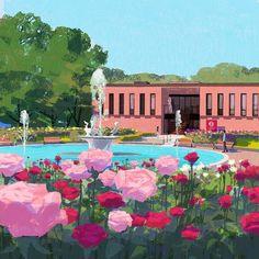 #illustration #illustrator #tatsurokiuchi #art #drawing #life #lifestyle #happy #japan #people #girl #木内達朗 #イラスト #イラストレーション #roses #flowers #fountain #museum
