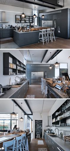 In this kitchen, the central island has a large wooden butcher block top, and…