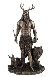"11.75"" Herne the Hunter w/ Deer & Wolf Figurine Figure Statue Celtic…"