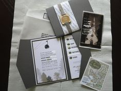 love this idea:  The RSVP card was a double sided postcard with a vintage black and white photo of the Chapel where we were getting married. The Map card was also double sided with directions on one side and a map on the other.