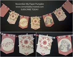 Janet used the Noel Paper Pumpkin Kit to make this fun banner. She also used Santa's List, Expressions Thinlits, Festive Flurry & Circles Framelits.
