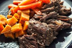 Balsamic Roast Beef-- A one-pot slow- cooker meal featuring root vegetables and fall apart tender chuck roast, all flavored with balsamic vinegar
