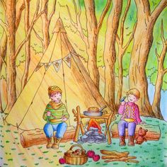 """Camping in the Forest"" (Pg.51) from Romantic Country: Cocot- The Land of Beautiful Towering Castles (A Fantasy Coloring Book) by Japanese Toothpick Artist & Illustrator, Eriy. Colorist: ?  ....love the sun rays coming through the trees as if the sun is coming up. Prob. won't use it in this particular scene in my book b/c I want this to be a late evening/dusk scene with the boys camping but I guess it could be the sun going down too in the afternoon. I'll def. use this awesome idea on…"