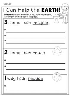 """Maybe for Ethan's away assignments book. But instead have him n his mommy cut out magazine pics n glue on since he can't read n write yet FREEBIE - Earth Day Printables """"I Can Help the Earth! Earth Day Worksheets, Earth Day Activities, Science Activities, Classroom Activities, School Worksheets, Science Lessons, 1st Grade Science, Kindergarten Science, Teaching Science"""