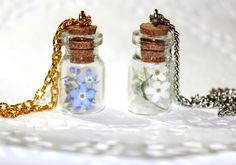 Forget-me-not in a bottle flower jewelry One-of-a-Kind Gift Ideas Botanical Terrarium Necklace dried flowers Pendant handmade keepsake (18.90 USD) by SweetyLifeShop