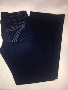 7 For All Mankind Dark Denim Dojo Jeans Size 29 #7ForAllMankind #WideLeg