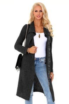85% ACRYL 15% NYLON  Sexy Cardigan Graphite  #lingerie #lingeriepartner #eroticlingerie #b2b Lingerie, Coats, Sexy, Polyvore, Sweaters, Jackets, Fashion, Down Jackets, Moda