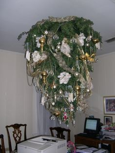 An upside down Christmas Tree? Well, why not, should keep your pets out of it.