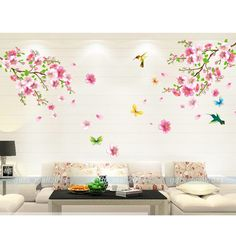 Removable Flower Blossom Butterfly Vinyl Art Wall Sticker