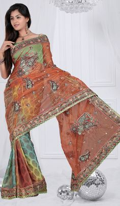 Multi-Color-Indian-Designer-Casual-Wear-Saree-with-Beautiful-Embroidery