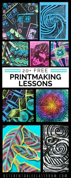 Over twenty printmaking lessons with full instructions. Art lessons include Lino cut prints, sandpaper prints, fabric printing, styrofoam prints, foun… - New Sites Middle School Art, Art School, High School, Programme D'art, 5th Grade Art, Inspiration Art, Art Curriculum, Art Lessons Elementary, Art Education Lessons