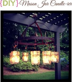 hanging light made from pot rack and jelly jars